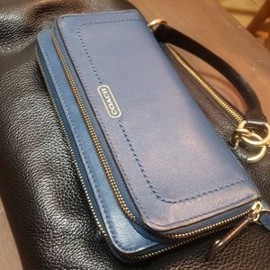 Coach Teal Zipper Wallet with wrist strap